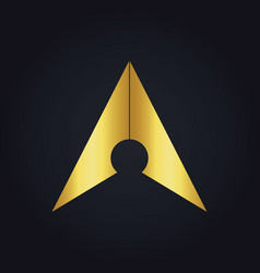 Gold arrow navigation colored logo vector