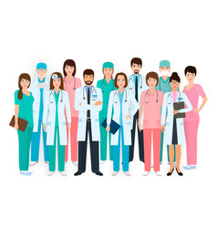 Group doctors and nurses standing together in vector