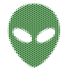 Halftone dot alien face icon vector