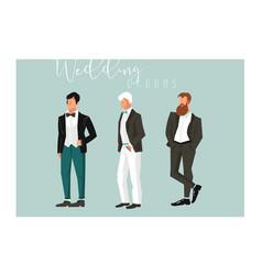 hand drawn abstract cartoon wedding groom vector image