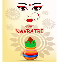 happy navratri contour of maa durga face and pot vector image
