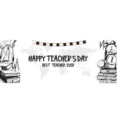 Happy teacher day with black and white school vector