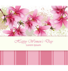 happy women day flowers card watercolor vector image