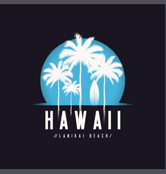 Hawaii lanikai beach tee print with palm trees t vector