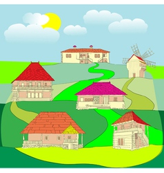houses and old windmill vector image