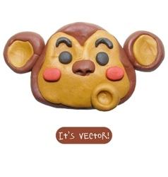 Icon of plasticine monkey vector