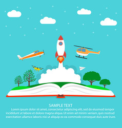 Imagination concept reading open book with rocket vector