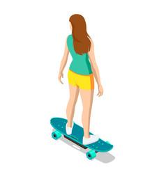Isometric skateboard or longboard isolated on vector