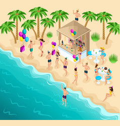 Isometry dancing on the beach party birthday vector