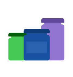 jars with paints for drawing flat isolated vector image