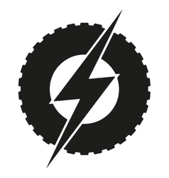 Logotype round wheel with lightning Eco electric vector image