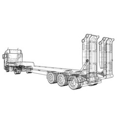 low bed truck trailer wire-frame eps10 format vector image