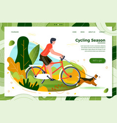 man riding on bike with dog vector image