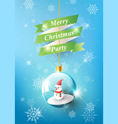 merry christmas with snowman in christmas ball vector image