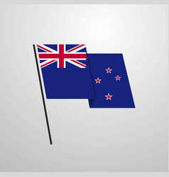 New zealand waving flag design background vector