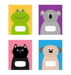 notebook cover cat dog frog koala bear zoo animal vector image