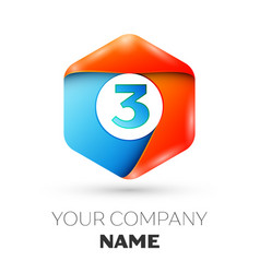 Number three logo in the colorful hexagonal vector