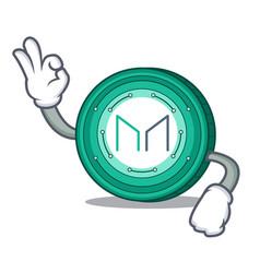 Okay maker coin character cartoon vector