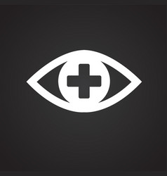 Ophtalmology eye icon on black background vector