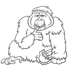 orangutan ape wild animal cartoon coloring book vector image