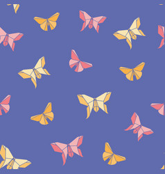 origami butterfly seamless pattern vector image