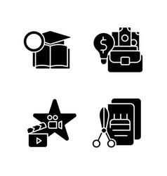 Outstanding aptitude black glyph icons set vector