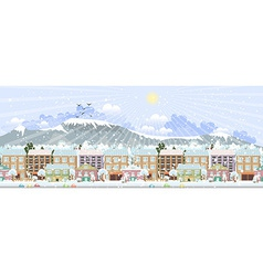 panorama winter city life vector image