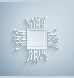 Paper cut processor icon isolated on grey vector
