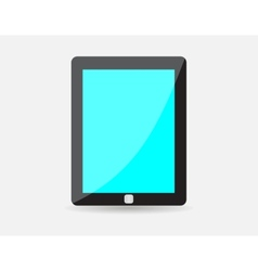 Realistic black tablet with blue blank screen vector image
