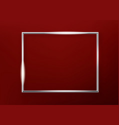 Realistic horizontal shining metal picture frame vector