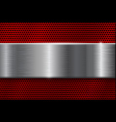 Red metal perforated background with square holes vector