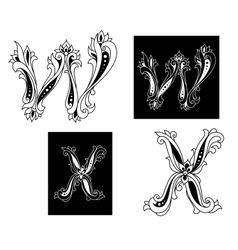 Retro letters W and X vector
