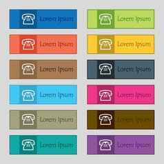 retro telephone handset icon sign Set of twelve vector image