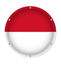round metallic flag of monaco with screws vector image