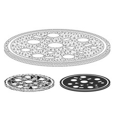 round pizza mesh wire frame model vector image