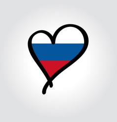 russian flag heart-shaped hand drawn logo vector image