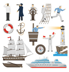 sailboat vessel attributes icons set vector image