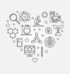 science heart creative in line vector image