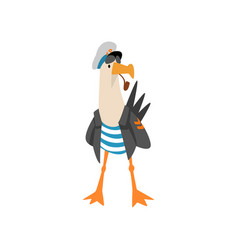 seagull sailor smoking pipe funny bird cartoon vector image