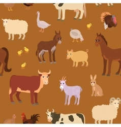 Seamless pattern with cartoon farm animals vector