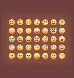 set of emoticons smileys icon pack emoj vector image