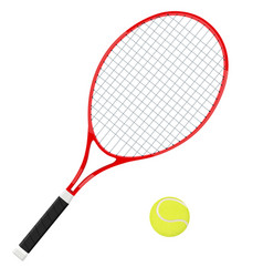 Tennis racket with yellow ball vector