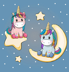 Valentine card with two unicorns on a moon and vector