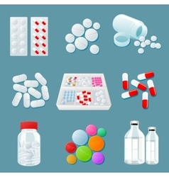 Variety of drugs and pills wide range vector