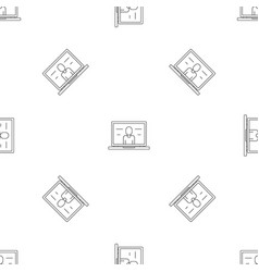 video laptop chat pattern seamless vector image