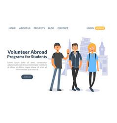 Volunteer abroad programs for students landing vector