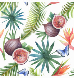 Watercolor seamless pattern figs and vector