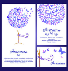 wedding invitation template set with butterflies vector image