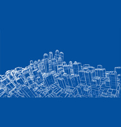 Wire-frame twisted city blueprint style vector