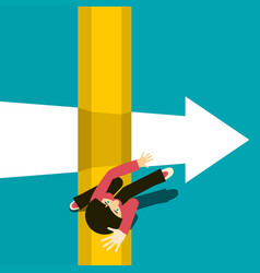 Woman jumping over abyss jump over chasm top view vector